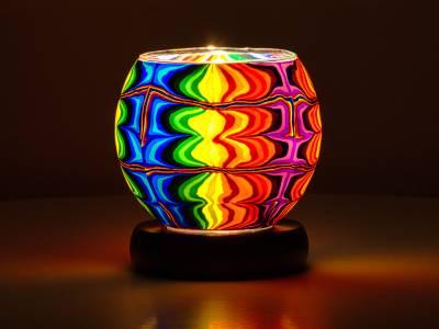 Leuchtglas Lampe Nr.9 Phantasiemotiv Ø11cm Leuchte elektrisch betrieben - 1