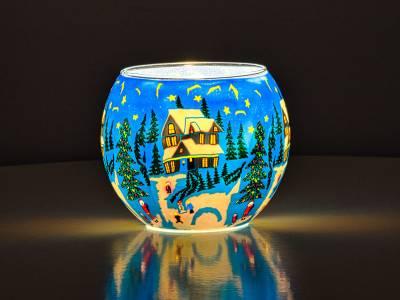 Leuchtglas Nr.386 ohne Wachs Ø11cm Deko Windlicht Teelichthalter Idylle und Ruhe im Winter - 1