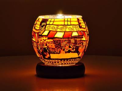 Leuchtglas Lampe Leuchte Nr.576 Ø11cm Dekoration Windlicht Teelichthalter Café Paris - 1