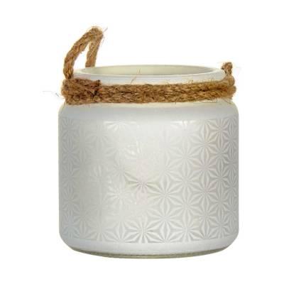 Glaswindlicht mit Kordel, Laterne weiss für Teelicht, Stumpenkerze - 1