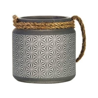 Glaswindlicht mit Kordel, Laterne grau für Teelicht, Stumpenkerze - 1