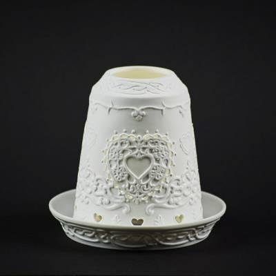 Starlight Glocke Nr.51 Herzmotiv mit Durchbrüchen Windlicht Teelichthalter - 1
