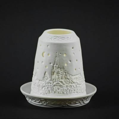 Starlight Glocke Nr.124 Weihnachtsmarkt am Abend Windlicht Teelichthalter - 1