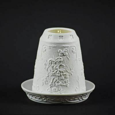 Starlight Glocke Nr.185 Engel auf Blumenranke Windlicht Teelichthalter - 1