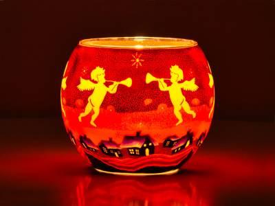 Leuchtglas Nr.512 ohne Wachs Ø11cm Dekoration Teelicht Windlicht Engel schwebend - 1