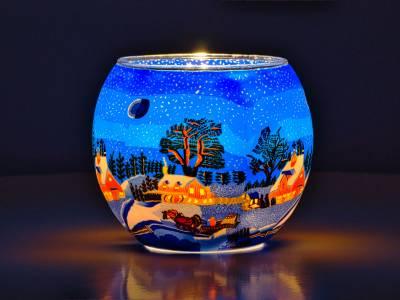 Leuchtglas Nr.829 ohne Wachs Ø11cm Dekoration Teelicht Windlicht Schneefall - 1