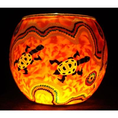 Leuchtglas Nr.272 ohne Wachs Ø11cm Dekoration Teelicht Windlicht Schildkröten - 1