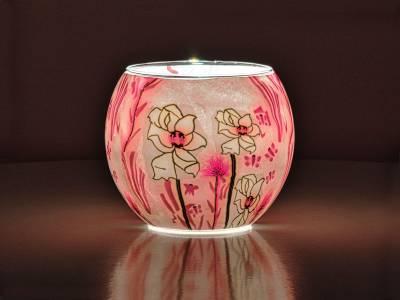 Leuchtglas Nr.519 ohne Wachs Ø11cm Dekoration Teelicht Windlicht weiße Blume - 1