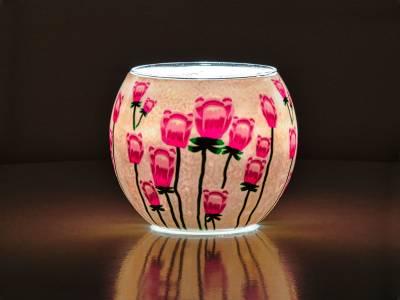 Leuchtglas Nr.518 ohne Wachs Ø11cm Dekoration Teelicht Windlicht Mohnblume - 1