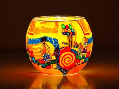Leuchtglas Nr.456 ohne Wachs Ø11cm Dekoration Teelicht Windlicht Stadt am Fluss - 1