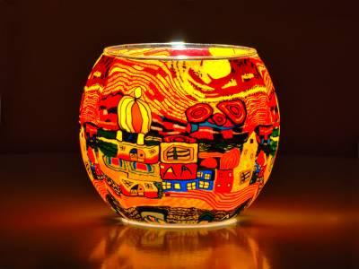 Leuchtglas Nr.455 ohne Wachs Ø11cm Dekoration Teelicht Windlicht Städtchen - 1