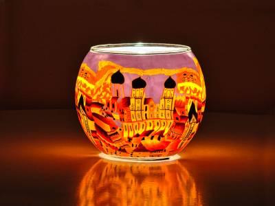 Leuchtglas Nr.449 ohne Wachs Ø11cm Dekoration Teelicht Windlicht Passau orange - 1