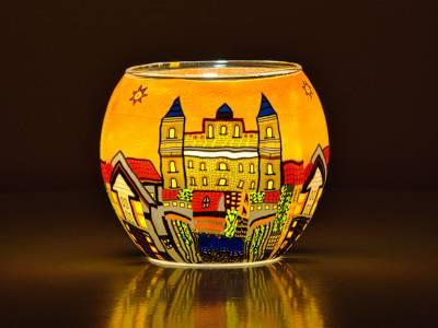 Leuchtglas Nr.370 ohne Wachs Ø11cm Dekoration Teelicht Windlicht Weingarten