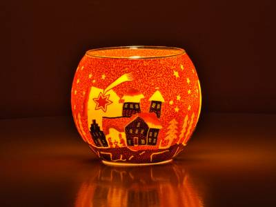 Leuchtglas Nr.346 ohne Wachs Ø11cm Dekoration Teelicht Windlicht Sternschnuppe rot - 1
