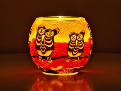 Leuchtglas Nr.345 ohne Wachs Ø11cm Dekoration Teelicht Windlicht Eule - 1