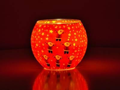 Leuchtglas Nr.341 ohne Wachs Ø11cm Dekoration Teelicht Windlicht 6 Weihnachtsmänner - 1