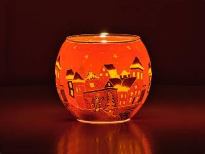 Leuchtglas Nr.301  ohne Wachs Ø11cm Dekoration Teelicht Windlicht Winterdorf rot - 1