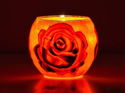 Leuchtglas Nr.297 ohne Wachs Ø11cm Dekoration Teelicht Windlicht Rose - 1