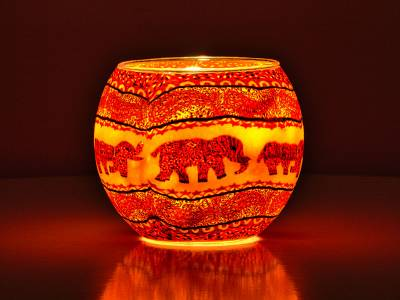 Leuchtglas Nr.211 ohne Wachs Ø11cm Dekoration Licht Windlicht Elefant orange/Rottöne - 1