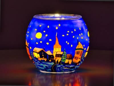 Leuchtglas Nr.176 ohne Wachs Ø11cm Dekoration Teelichthalter Windlicht Stadt bei Nacht - 1