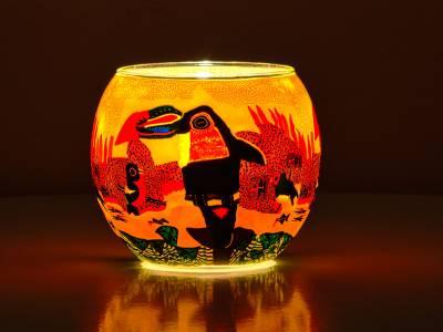 Leuchtglas Nr.167 ohne Wachs Ø11cm Dekoration Teelichthalter Windlicht Vogel - Tukan - 1