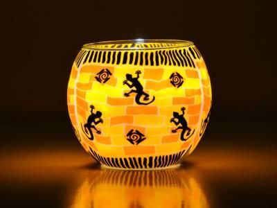 Leuchtglas Nr.149 ohne Wachs Ø11cm Dekoration Teelichthalter Windlicht Eidechsen - 1
