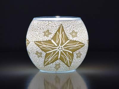 Leuchtglas Nr.143 ohne Wachs Ø11cm Dekoration Licht Windlicht Stern weiss - 1