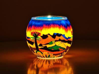 Leuchtglas Nr.125 ohne Wachs Ø11cm Dekoration Licht Windlicht Berglandschaft - 1