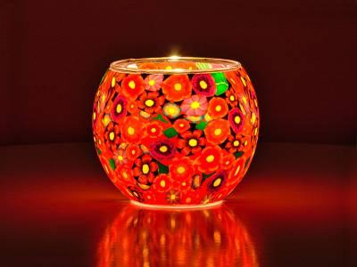 Leuchtglas Nr.124 ohne Wachs Ø11cm Dekoration Licht Windlicht Blumenwiese - 1