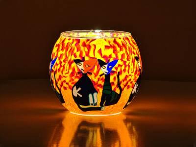 Leuchtglas Nr.110 ohne Wachs Ø11cm Dekoration Licht Windlicht Katzen gelb/rot - 1