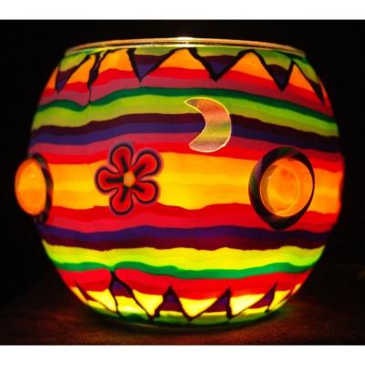 Leuchtglas Nr.102 ohne Wachs Ø11cm Dekoration Licht Windlicht Nuggets bunt - 1