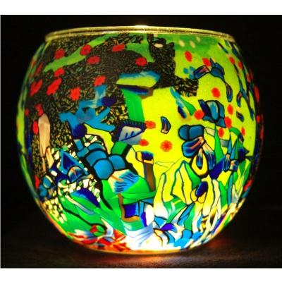 Leuchtglas Nr.93 ohne Wachs Ø11cm Dekoration Licht Windlicht Phantasiemotiv - 1