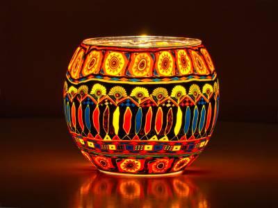 Leuchtglas Nr.90 ohne Wachs Ø11cm Dekoration Teelicht Windlicht Bohochic - 1