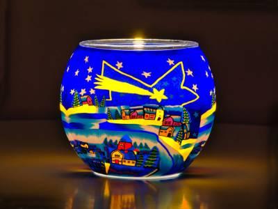 Leuchtglas Nr.66 ohne Wachs Ø11cm Dekoration Licht Windlicht Teelicht Weihnachtsstern - 1