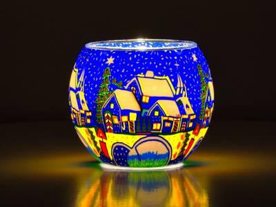 Leuchtglas Nr.49 ohne Wachs Ø11cm Dekoration Licht Windlicht Teelicht Schneestadt - 1
