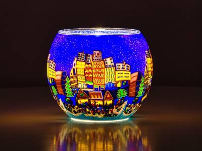 Leuchtglas Nr.44 ohne Wachs Ø11cm Windlicht Teelicht abendlicher Weihnachtsmarktbesuch - 1