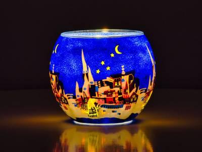 Leuchtglas Nr.38 ohne Wachs Ø11cm Dekoration Licht Windlicht Teelichthalter Stadt/Nacht - 1