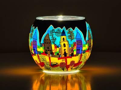 Leuchtglas Nr.37 ohne Wachs Ø11cm Dekoration Licht Windlicht Kirchenbesuch am Sonntag - 1