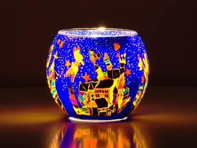 Leuchtglas Nr.35 ohne Wachs Ø11cm Deko Licht Windlicht Teelichthalter Motiv Nürnberg - 1