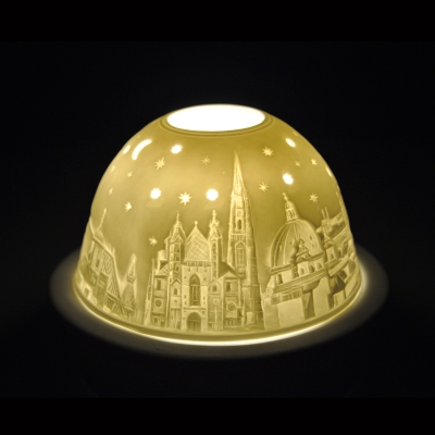 Starlight Nr.233 - Hellmann Teelicht Porzellan-Windlicht Motiv Porzellan Stephansdom Wien - 1