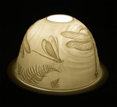 Starlight Nr.113 - Hellmann Teelicht, Windlicht Bisquitporzellan Deko-Windlicht Libelle - 1