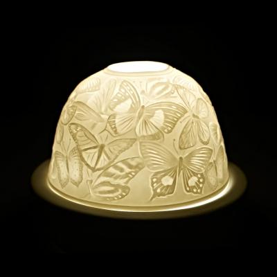 Starlight 90 Schmetterlinge Hellmann Teelicht Windlicht Windlichthalter Bisquitporzellan - 1