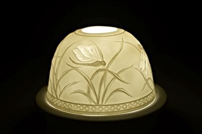 Starlight Nr.84 - Hellmann Porzellan Teelicht Windlichthalter Bisquitporzellan Deko Libelle - 1