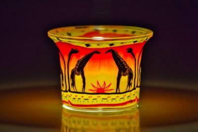 Votiv Glas 287 Giraffen dekoratives Windlicht - 1