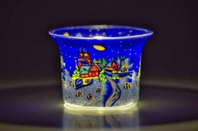 Votiv Glas 255 Winterdorf bei Nacht dekoratives Windlicht - 1