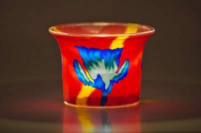 Votiv Glas 109 blaue Blume dekoratives Windlicht - 1
