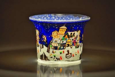 Votiv Glas 68 Dekoration Licht Windlicht Teelichthalter Weihnachtsmarkt - 1
