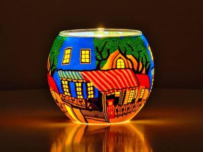 Leuchtglas Nr.562 ohne Wachs Ø11cm Dekoration Windlicht Teelichthalter Cafe Paris 1 - 1