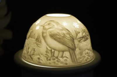 Starlight Nr.269 - Teelicht Windlicht Dekoration Porzellanteelicht Bisquitporzellan Vogel - 1