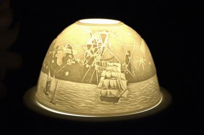 Starlight Nr.158 - Teelicht Windlicht Porzellanteelicht Bisquitporzellan Maritimes Motiv - 1